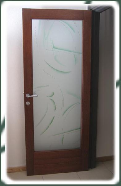 Scripte - Porta in Meranti e vetro decorato