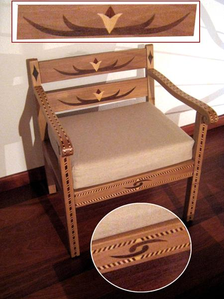Setzi Paul - sedia intarsiata in noce