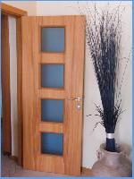 Carrés - door in walnut Bahia and glass